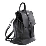 Black Real Leather Tassel Backpack - Side 1 - Amilu