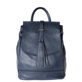 Navy Blue Real Leather Tassel Backpack - Amilu