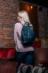 Navy Blue Real Leather Tassel Backpack - Lifestyle - Amilu