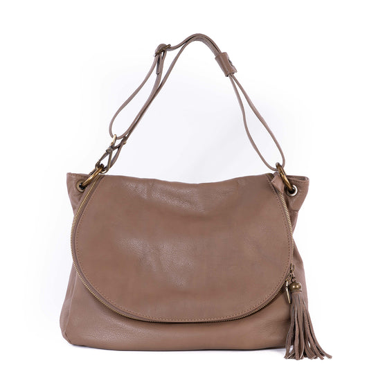 Taupe Real Leather Soft Boho Bag - Amilu