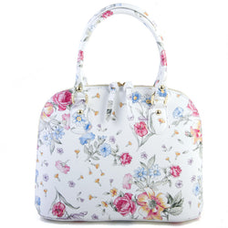 Floral and White Real Leather Grab Tote Bag - Amilu