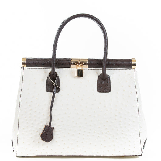 Cream and Chocolate Gladstone Ostrich Leather Tote Bag