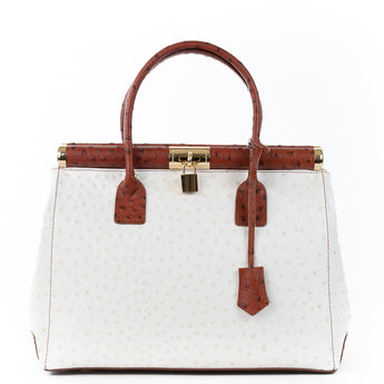 Cream and Tan Gladstone Ostrich Leather Tote Bag