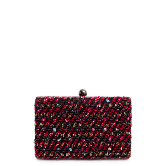 Red and Black Multi Glitter Tweed Box Clutch Bag