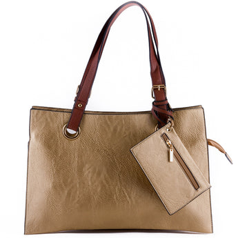 Metallic Gold Faux Leather Shopper Tote Bag