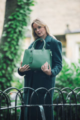 Emerald Green Real Textured Leather Grab Tote Bag