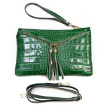 Emerald Green Real Italian Leather Croc Envelope Clutch Bag
