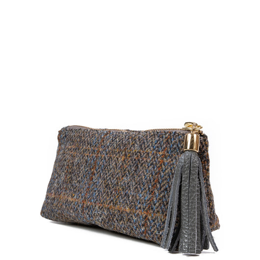 Grey Fergus Harris Tweed Cosmetic Bag