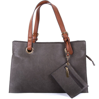 Grey Faux Leather Shopper Tote Bag - Amilu