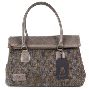 Grey Fergus Harris Tweed Real Leather Tote Bag