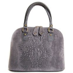 Grey Real Leather Suede Grab Bag