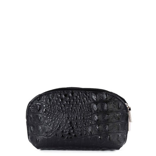 Black Croc Real Leather Mini Clutch Bag - Amilu