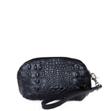 Black Croc Real Leather Mini Clutch Bag - With Strap - Amilu