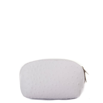 Cream Real Leather Mini Clutch Bag