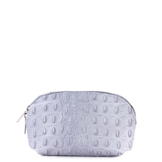 Light Grey Croc Real Leather Mini Clutch Bag - Amilu