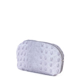Light Grey Croc Real Leather Mini Clutch Bag - Side - Amilu