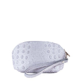 Light Grey Croc Real Leather Mini Clutch Bag - With Strap - Amilu
