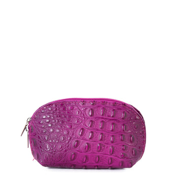 Pink Croc Real Leather Mini Clutch Bag - Amilu