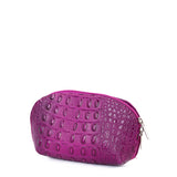 Pink Croc Real Leather Mini Clutch Bag - Side - Amilu