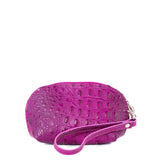 Pink Croc Real Leather Mini Clutch Bag - With Strap - Amilu