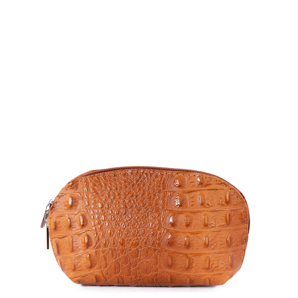 Tan Croc Real Leather Mini Clutch Bag - Amilu