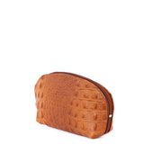 Tan Croc Real Leather Mini Clutch Bag - Side - Amilu