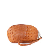 Tan Croc Real Leather Mini Clutch Bag - With Strap - Amilu