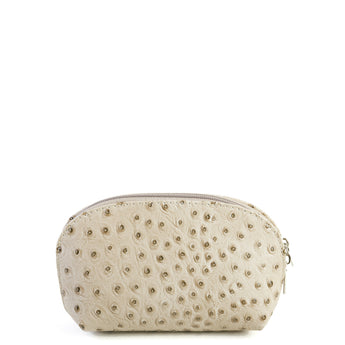 Taupe Real Leather Mini Clutch Bag