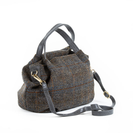 Grey Fergus Harris Tweed Small Tote Bag