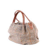 Tan Hamish Harris Tweed Mini Tote Bag - Side - Amilu