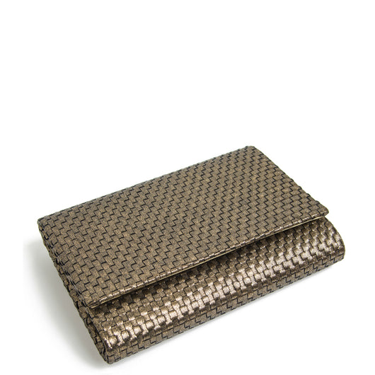 Gold Woven Shimmer Fold over Clutch Bag