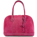 Fuchsia Pink Real Suede Large Bowling Bag
