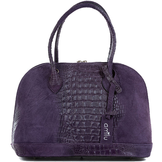 Purple Real Suede Large Bowling Bag