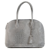Mid Grey Real Suede Large Bowling Bag