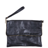 Black Soft Real Leather Cross Body Bag
