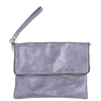 Grey Soft Real Leather Cross Body Bag