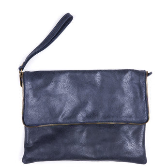 Navy Soft Real Leather Cross Body Bag