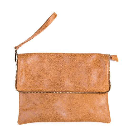 Tan Soft Real Leather Cross Body Bag