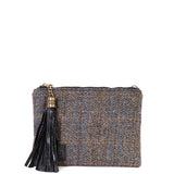 Black Harris Tweed Flat Clutch Bag - Amilu