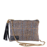 Black Harris Tweed Flat Clutch Bag - With Chain Strap - Amilu