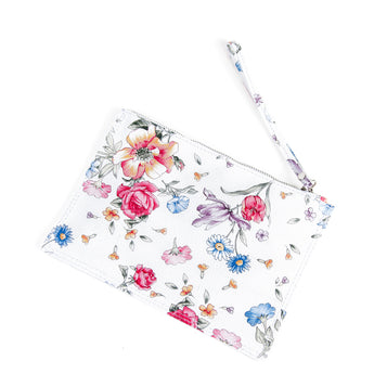 Floral and White Real Leather Flat Clutch Bag