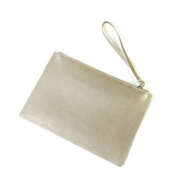 Gold Real Leather Flat Clutch Bag - Amilu