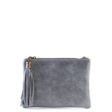 Grey Real Leather Tassel Clutch Bag - Amilu