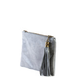 Grey Real Leather Tassel Clutch Bag - Side - Amilu