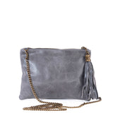 Grey Real Leather Tassel Clutch Bag - With Chain - Amilu