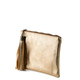 Gold Real Leather Tassel Clutch Bag - Side - Amilu