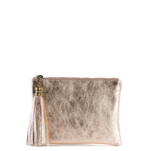 Rose Gold Real Leather Tassel Clutch Bag