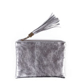 Silver Real Leather Tassel Clutch Bag