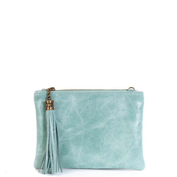Mint Green Real Leather Tassel Clutch Bag - Amilu