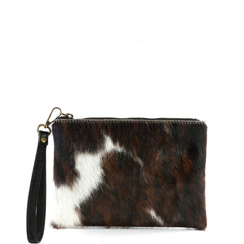 Natural Cow Hair and Real Leather Tassel Clutch Bag - Amilu